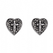 Sterling Silver Marcasite Cross in Heart Stud Earrings